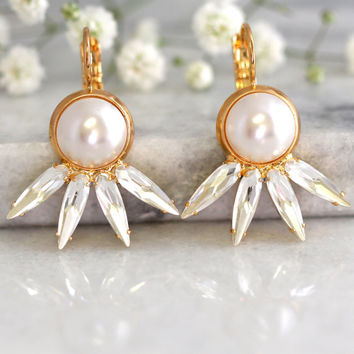 Pearl Earrings, Pearl Drop Earrings, Bridal Pearl Earrings, Swarovski Earrings, Bridesmaids Earrings, Bridal Crystal Earrings, Gift For Her