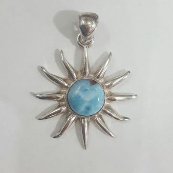 larimar sun sterling silver pendant turquoise original dominican blue stone handmade jewelry natural exclusive dominican gem unique gift