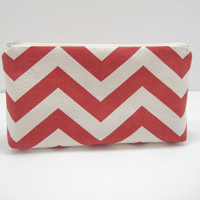 Chevron Cosmetic Pouch, Red Chevron Zippered Pouch, Cosmetic Bag, Red Chevron Accessory Pouch, with Mini Chevron Lining, Ready to Ship