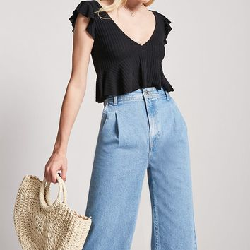 Ribbed Ruffle Sleeve Top