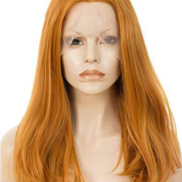 Ginger Orange Shoulder Length 17 Inch Straight Bob Synthetic Lace Front Wig