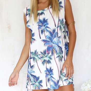 White and Blue Tropical Print Sleeveless High Low Shift Dress