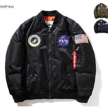 NASA Mens MA1 Bomber Jacket Insignia USAF Kanye West Hip Hop Sport Male Windbreaker Jacket Flag Mens Spring Thin section Jacket