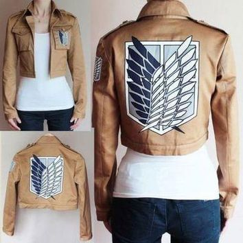 Cool Attack on Titan  Cosplay Costume Japanese Anime No  Cosplay Jacket Brown Coat Uniform for Women Men Adult AT_90_11