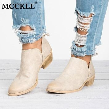 MCCKLE Women Pumps Low Heels Female Casual Shoes Fashion Chunky Heel Solid Ankle Boots Concise Shoe Footwear