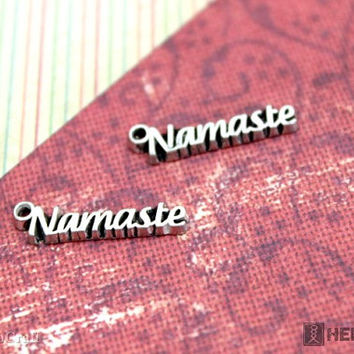 Namaste Word Charms, 2pc Premium Pewter Charms, Silver color 4x20mm