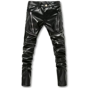 Biker Skinny Men Gothic Punk Fashion Leather Pants PU Buckles Hip Hop Zippers Black Leather Trousers