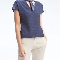 Dot Tie-Neck Top | Banana Republic