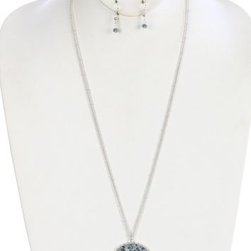 Gray Wire Woven Glass Bead Metal Ring Pendant Necklace And Earring Set