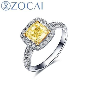 ZOCAI luxurious series 18K white gold Fancy Yellow diamond Cushion cut 0.70 ct certified diamond engagement ring W06163