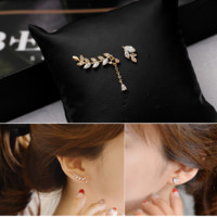 Fashion 925 Silver asymmetric Rhinestone Leaf Earrings
