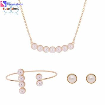 Women Simulated pearl Necklace Earrings Bracelet Wedding Party Jewelry Set - Free Shipping