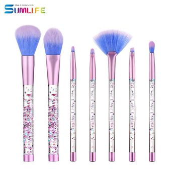 SUMLIFE Unicorn 7 pcs Liquid Makeup Brush Mermaid series crystal quicksand Makeup Brushes Set eyeshadow blush brush maquiagem