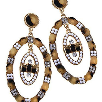 Womens Jewelry, Gold Dangle Earrings w/ a Leopard Pattern. Oval Shaped, Stud Earrings with Leopard Pattern Dangling Ovals. Length: 2.5 Inch