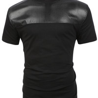 LE3NO Mens Premium Edgy Faux Leather Slub Raglan Short Sleeve T Shirt (CLEARANCE)