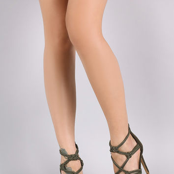 Strappy Knotted Rope Stiletto Heel