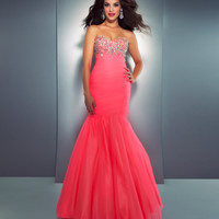 Mac Duggal Prom 2013 - Strapless Neon Coral Mermaid Dress With Embellished Rhinestones - Unique Vintage - Cocktail, Pinup, Holiday & Prom Dresses.