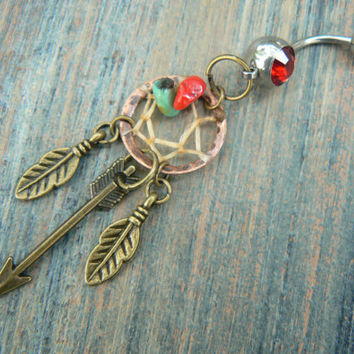 arrow dreamcatcher belly ring turquoise coral COPPER feathers in native american tribal boho belly dancer tribal fusion and hipster style