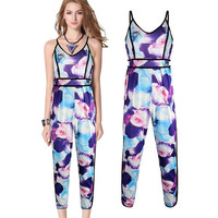 Women Fashion Sexy Ladies Clubwear Party  Sleeveless Floral Print Beach Jumpsuit Long Rompers = 1667928452