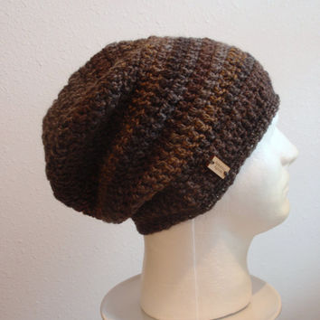 Crochet Slouch Hat Brown Beanie, Mens Beanie, Womens Hat, Brown and Gray Tweed Striped, Mens Slouch Beanie Multicolored Gifts for Guys