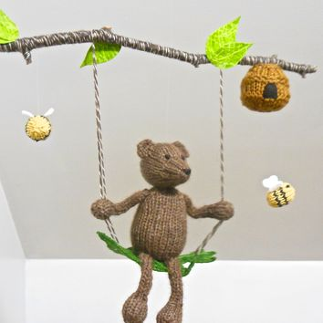 Bear and Bee Baby Mobile, Nursery Mobile