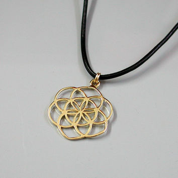 Flower Of Life Necklace-  18K Yellow Gold Plated Seed Of Life Pendant  On A Black Leather Chain