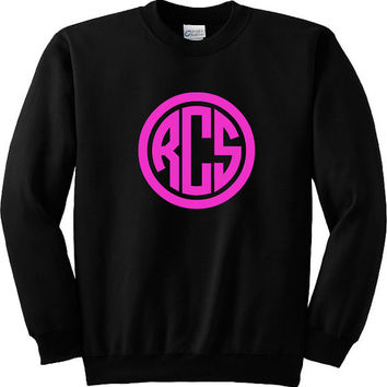 Popular Women's or Girl's Circle Monogram Long Sleeved Sweatshirt Personalized in White or Black with Choice of Monogram Colors