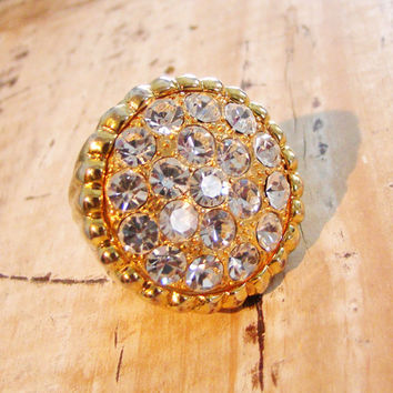 Vintage Rhinestone Cocktail Ring, Huge Bling, Size 7