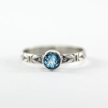 Swiss Blue Topaz Sweetheart Ring - Sterling Silver & Natural Gemstone - Promise Ring - Made to Order in Your Size