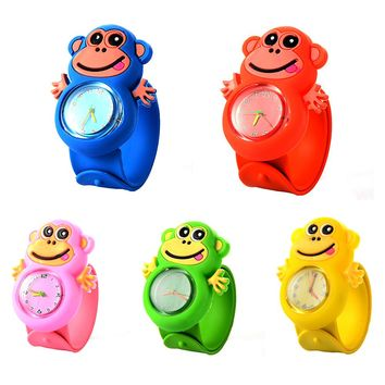 3D Children Cartoon Watch Cute Monkey Soft Silicone Watch Casual Animals Children Clock Creative Quartz Watch Christmas Gifts