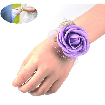 5 Colors Wedding Silk Bridal Bridesmaid HandMade Bouquet Hand Flowers Wrist Corsages Party Decoration