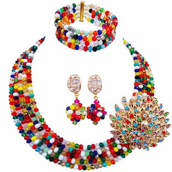 Fashion Women's Mixed Multicolor Crystal African Jewelry Bead Set