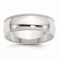 Sterling Silver 7mm Milgrain Wedding Band Ring: RingSize: 5