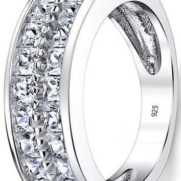 2.20 Carats Double Row Princess Cut Men's Sterling Silver Wedding Band Engagement Ring with Cubic Zirconia 7.5mm Sizes 7 to 13