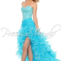 Precious Formals P52018 Lime/Turquoise Strapless Hi-Lo Prom Dress