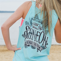 Southern Vine Originals Shine On Mason Jar Beware of the Moon Moonshine Unisex Lagoon Bright Tank Top Shirt