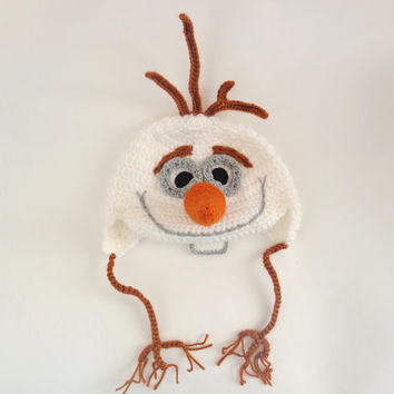 Olaf Snowman Frozen Crochet Hat With Ear Flap - Disney Hat Crochet Wig - Halloween Baby Hat - Choose your size