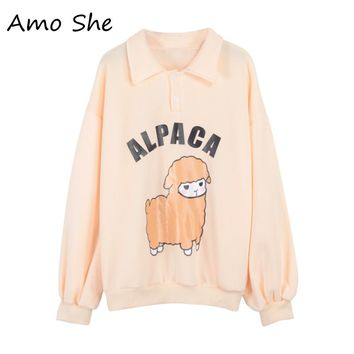 Amo She Alpaca Print Turn-down Collar Fleece Hoodies Women Autumn Winter Sweatshirts Pink Sweet Button Tops Pullovers