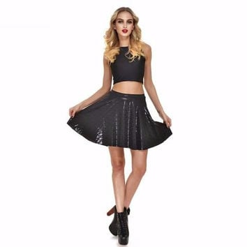 Black Mermaid Print Skater Skirt
