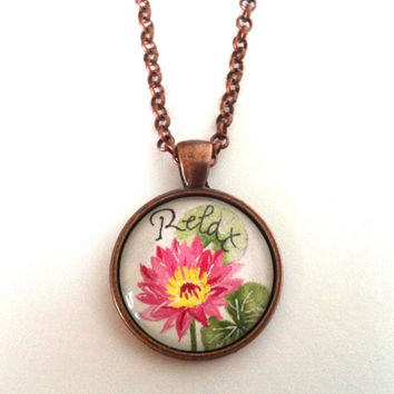 Lotus Necklace, Hand Painted Pendant, Relax Spiritual Jewelry, Meditation Necklace, Peace Jewelry, Wearable Art Jewellery, Pink Lotus