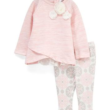 Wendy Bellissimo Heather Pink Tulip-Hem Top & Leggings - Infant