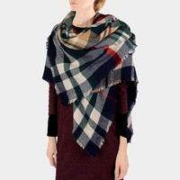 Plaid Check Knit Fringed Trim Blanket Scarf - Navy & Cream
