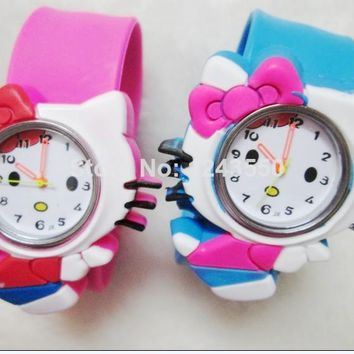 1pcs Hello Kitty Kids Slap Watch,Students watch children Quartz watch gifts