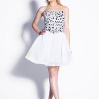 White & Silver Sequin Sweetheart Tulle Cocktail Dress - Unique Vintage - Cocktail, Pinup, Holiday & Prom Dresses.