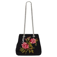 Saint Laurent Emmanuelle Bucket Bag Grunge Rose Needlepoint 355153