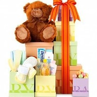*New Baby Gift Tower - New Baby Girl - Gift Baskets Ideas for New Parents, New Moms, New Dads - Or Baby Shower Gift Basket for Expecting Mothers. Unique on Sale Assortment - Delivery By Mail.