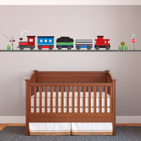 Red Caboose Freight Train Wall Decals with Straight RR Track (Left Facing) Col.1