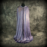 Lavender Crushed Velvet Hooded Cloak - Fantasy Clothing - Wizard Cape - Ritual cloak - Renaissance Costume, SCA, LARP
