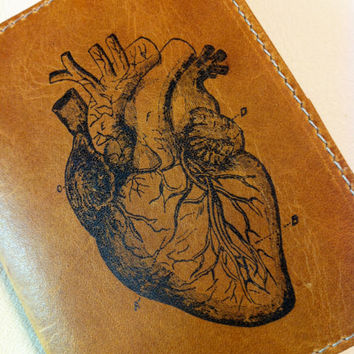 leather wallet billfold men card slots custom for you anatomical heart