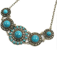 Bohemian Boho Blue Turquoise Stone Necklace